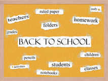 Back to School Corkboard Word Concept Stock Photo