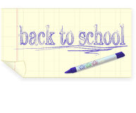 Back to school, crayon drawing Stock Images
