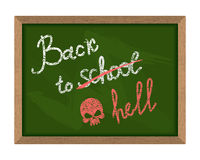 Back to school (crossed out in hell). The inscription on the Gre. En chalk Blackboard. Dreary time to return to school on September 1. School illustration Royalty Free Illustration