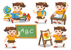 Back to School. Cute children have fun. Isolated vector. Back to School. Cute children have fun and sitting at school desk and hand up to answer in class. A cute Royalty Free Stock Images