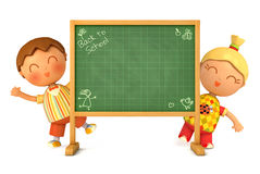 Back to School. Cute girl and boy standing at school board. Blackboard ready for your message. Back to School. Isolated on white background. 3d render Stock Images