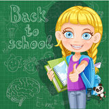 Back to school - cute girl with school books at th Stock Photos