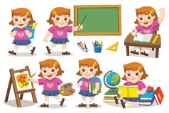 Back to school. Cute Girl study in school. Back to School. Cute Girl have fun and sitting at school desk and hand up to answer in class. A cute girl look up Royalty Free Stock Photos