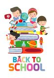 Back to school,cute kids reading book, children with books, Happy Children while Reading Books, Vector Illustration. On white background.education concept royalty free illustration