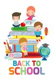 Back to school,cute kids reading book, children with books, Happy Children while Reading Books, Vector Illustration. On white background.education concept stock illustration