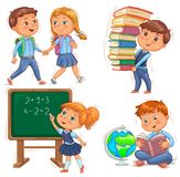 Back To School Cute Kids Set. Royalty Free Stock Images