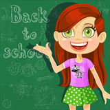Back to school - cute little girl at the  board Royalty Free Stock Photo