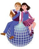 Back to School. cute school girl and boy Royalty Free Stock Image