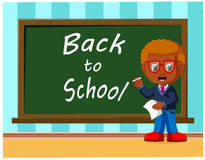 Back to school. Cute schoolchild at the blackboard to answer a lesson. Illustration of Back to school. Cute schoolchild at the blackboard to answer a lesson Royalty Free Stock Image
