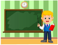 Back to school. Cute schoolchild at the blackboard to presentation. Illustration of Back to school. Cute schoolchild at the blackboard to presentation Stock Photo