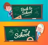 Back to school. Cute schoolchild near blackboard Stock Photo
