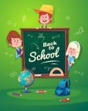 Back to school. Cute schoolchild near blackboard Royalty Free Stock Images