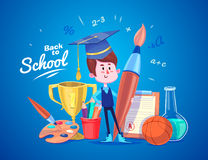 Back to school. Cute schoolchild near supplies Royalty Free Stock Photos