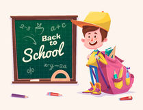 Back to school. Cute schoolchild near supplies Royalty Free Stock Photography