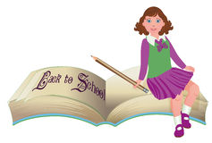 Back to School. Cute schoolgirl with old book Royalty Free Stock Photos