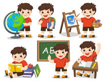 Back to school. A cute student study in school. Isolated vector. Back to school. A cute student study in school , drawing a picture, reading books Royalty Free Stock Image