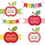 Back to school. Cute Back to School theme labels as apple mini frames with ribbons and bunting can be used for photo album decoration, as photo booth props, for stock illustration