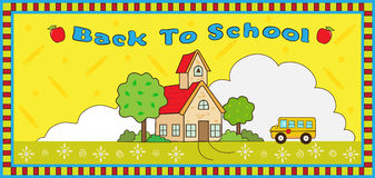 Back to School. Cute vector illustration of a school house, school bus and decorative background and frame. With the word Back To School at the top. Eps 10 Royalty Free Stock Image