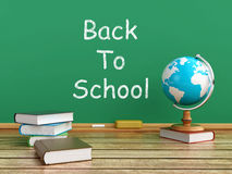 Back to school. 3d illustration of a blackboard with school books and desktop globe Stock Image