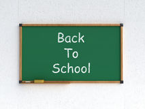 Back to school. 3d render of blackboard with chalk and sponge with back to school text Stock Image