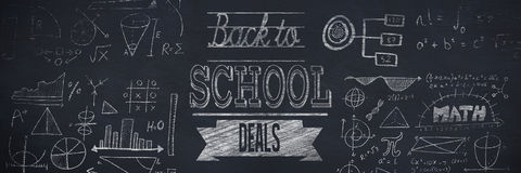 Composite image of back to school deals message. Back to school deals message against black background Royalty Free Stock Image