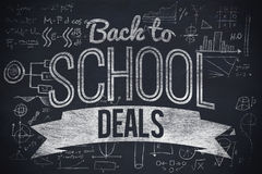 Composite image of back to school deals message. Back to school deals message against black background Royalty Free Stock Photos