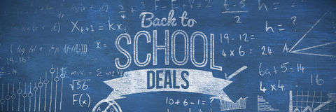 Composite image of back to school deals message. Back to school deals message against blue background Stock Photo