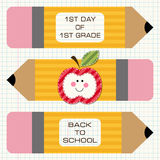 Back to school decorations. Cute school yellow pencils with pink rubber can be used for scrapbooking printables or other Back to School decoration royalty free illustration