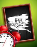 Back to school design with alarm clock, chalkboard and typography lettering on green background. Vector illustration for. Greeting card, banner, flyer vector illustration