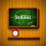 Back to school design with alarm clock, chalkboard and typography lettering on wood texture background. Vector. Illustration for greeting card, banner, flyer vector illustration