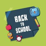 Back to school design. With school related icons around over green background, vector illustration Stock Image