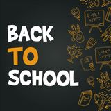 Back to school design blackboard banner. Vector illustration stock illustration
