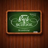 Back to school design with chalkboard and typography lettering on wood texture background. Vector illustration for. Greeting card, banner, flyer, invitation vector illustration