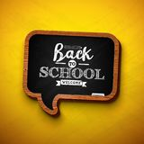 Back to school design with chalkboard and typography lettering on yellow background. Vector illustration for greeting. Card, banner, flyer, invitation, brochure vector illustration