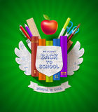 Back to school design. Back to school - coat of arms with stationery items Royalty Free Stock Images