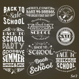 Back to School Design Collection. A set of vintage style Back to School sale and party on Black Chalkboard Background Royalty Free Stock Image