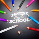 Back to school design with colorful pencil and chalk lettering on black chalkboard background. Vector illustration for. Greeting card, banner, flyer, invitation royalty free illustration