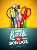 Back to school design with colorful pencil, magnifying glass, scissors, ruler and typography letter on yellow background. Vector illustration with education vector illustration