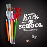 Back to school design with colorful pencil, pen and typography lettering on black chalkboard background. Vector. Illustration with ruler, scissors, paint brush Vector Illustration