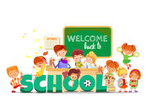 Back to school design concept with funny cartoon pupils Stock Image