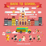 Back to School. Design Elements of School and Education, vector Illustrations stock illustration