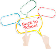 Back to school. Design elements, hands and speech bubbles isolated on white, education Royalty Free Stock Photography