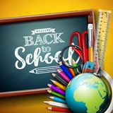 Back to school design with globe, magnifying glass, scissors, ruler and typography letter on yellow background. Vector. Education concept illustration with royalty free illustration