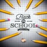 Back to school design with graphite pencil and typography lettering on notebook background. Vector illustration for. Greeting card, banner, flyer, invitation vector illustration