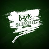 Back to school design with green chalkboard and typography lettering on yellow background. Vector illustration for. Greeting card, banner, flyer, invitation vector illustration
