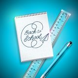 Back to school design with pen, ruler and notebook on blue background. Vector illustration with hand lettering for. Greeting card, banner, flyer, invitation vector illustration