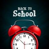Back to school design with red alarm clock on dark chalkboard background. Vector illustration for greeting card, banner. Flyer, invitation, brochure or royalty free illustration