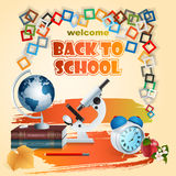 Back to school, design with school books, Earth globe and microscope Royalty Free Stock Photography