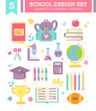 Back to school design set of cartoon items. Back to school design set of cartoon education items in flat style isolated on white background Stock Photography