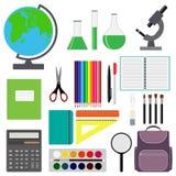 Back to school design. Set of School supplies. Line, polygon, scissor, notebook, pen, pencil, eraser, brush, schoolbag, calculator Royalty Free Stock Images